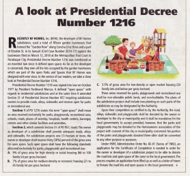 A Look at Presidential Decree Number 1216. (NewsVille March 29, April 11, 2018 issue).