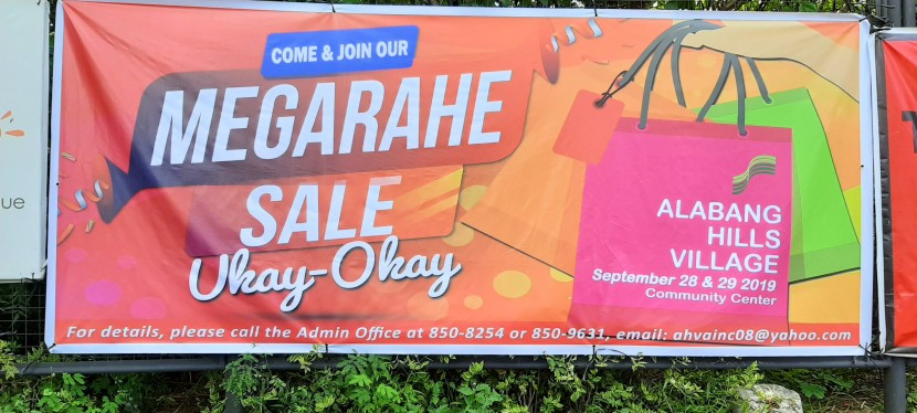 Megarahe Sale in Alabang Hills on September 28 and 29