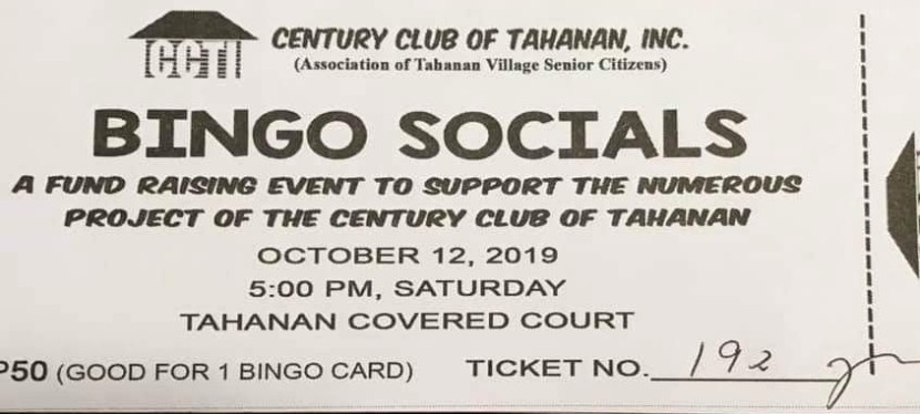 Bingo Socials in Tahanan Village set for October 12