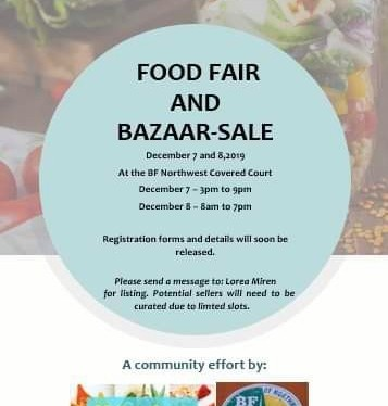 Community Food Fair and Bazaar in BF NorthWest on December 7 and 8
