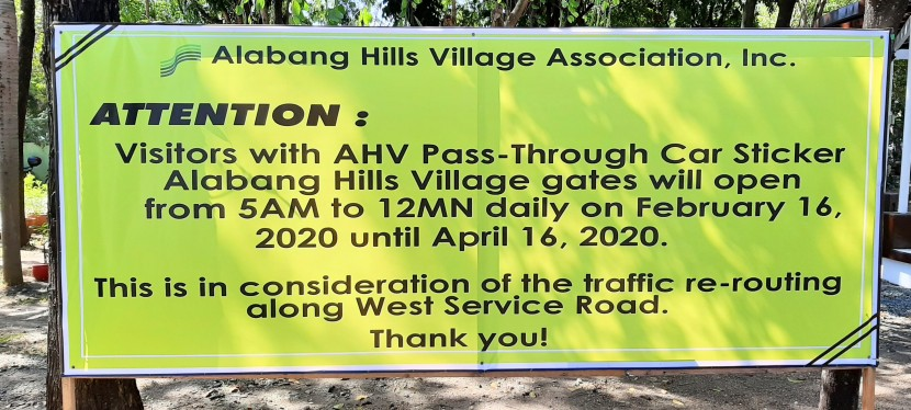 Alabang Hills Village Implements New Schedule For Passing Through Their Village