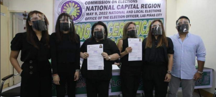 Las Piñas City Mayor Imelda Aguilar files COC aiming for 3rd term, incumbent Vice Mayor Aguilar-Nery running for 2ndterm